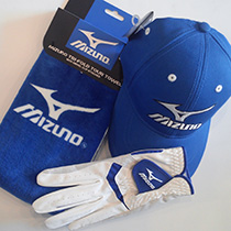 Mizuno Golf cap + glove + towel