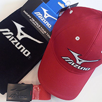 Mizuno Golf cap + belt + towel